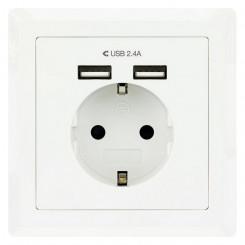 Настенная розетка с 2 портами USB NANOCABLE 10.35.0010 5V/2.4A Белый