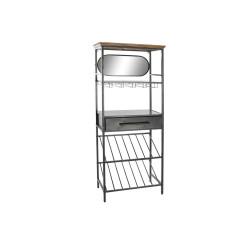Pudelialus DKD Home Decor Must Puit Metall Peegel (68 x 37 x 165 cm)
