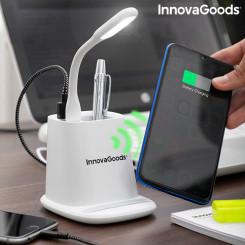 Беспроводное зарядное устройство с держателем-органайзером и светодиодной USB-лампой 5-в-1 DesKing InnovaGoods