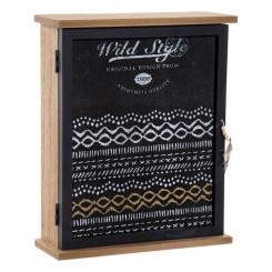 Шкаф для ключей DKD Home Decor Wild Style Чёрный Стеклянный Деревянный MDF (22 x 7 x 26 cm)
