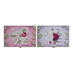 Крышки DKD Home Decor бухгалтер Розовый Деревянный MDF Лиловый (2 pcs) (46 x 6 x 32 cm)