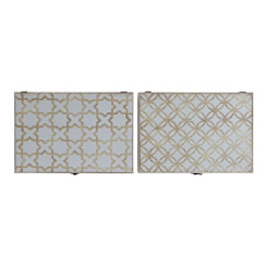 Крышки DKD Home Decor бухгалтер Белый Позолоченный Деревянный MDF (2 pcs) (46 x 6 x 32 cm)