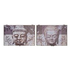 Крышки DKD Home Decor бухгалтер Будда Серый Деревянный MDF (2 pcs) (46.5 x 6 x 31 cm)