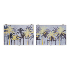 Крышки DKD Home Decor бухгалтер Пальмы Чёрный Позолоченный Деревянный MDF (2 pcs) (46.5 x 6 x 31 cm)