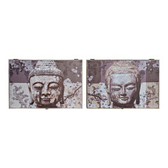 Kaaned DKD Home Decor  Mõõtja Buddha Hall Puit (2 pcs) (46 x 6 x 32 cm)