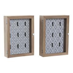 Шкаф для ключей DKD Home Decor Синий Деревянный MDF (2 pcs) (20 x 6 x 28 cm)