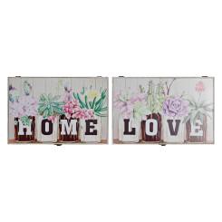 Võtmekapp DKD Home Decor Kwiaty Puit MDF (2 pcs) (46 x 6 x 32 cm)