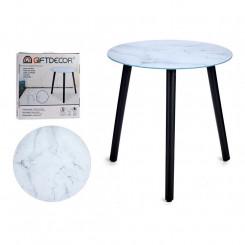 Вспомогательный стол Белый Чёрный Стеклянный (40 x 41,5 x 40 cm)