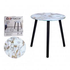 Вспомогательный стол Белый Позолоченный Стеклянный (40 x 41,5 x 40 cm)