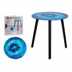 Вспомогательный стол бирюзовый Стеклянный (40 x 41,5 x 40 cm)