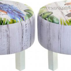 подставка для ног DKD Home Decor Zazu Деревянный Тропический Полотно (40 x 40 x 31 cm)