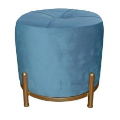 подставка для ног DKD Home Decor Синий полиэстер Металл Позолоченный (38 x 38 x 34 cm)