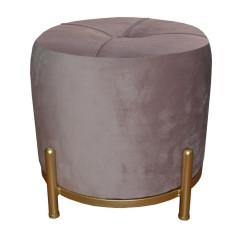подставка для ног DKD Home Decor Розовый полиэстер Металл Позолоченный (38 x 38 x 34 cm)