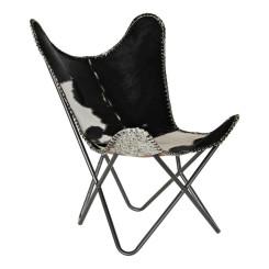 Кресло DKD Home Decor Белый Чёрный Кожа Железо (70 x 70 x 90 cm)