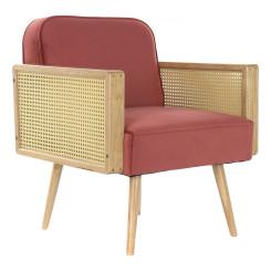 Кресло DKD Home Decor Красный полиэстер ротанг (66 x 64 x 79 cm)