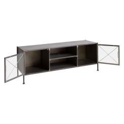 ТВ шкаф Black Стеклянный Крашенное железо (131 x 40 x 49 cm)
